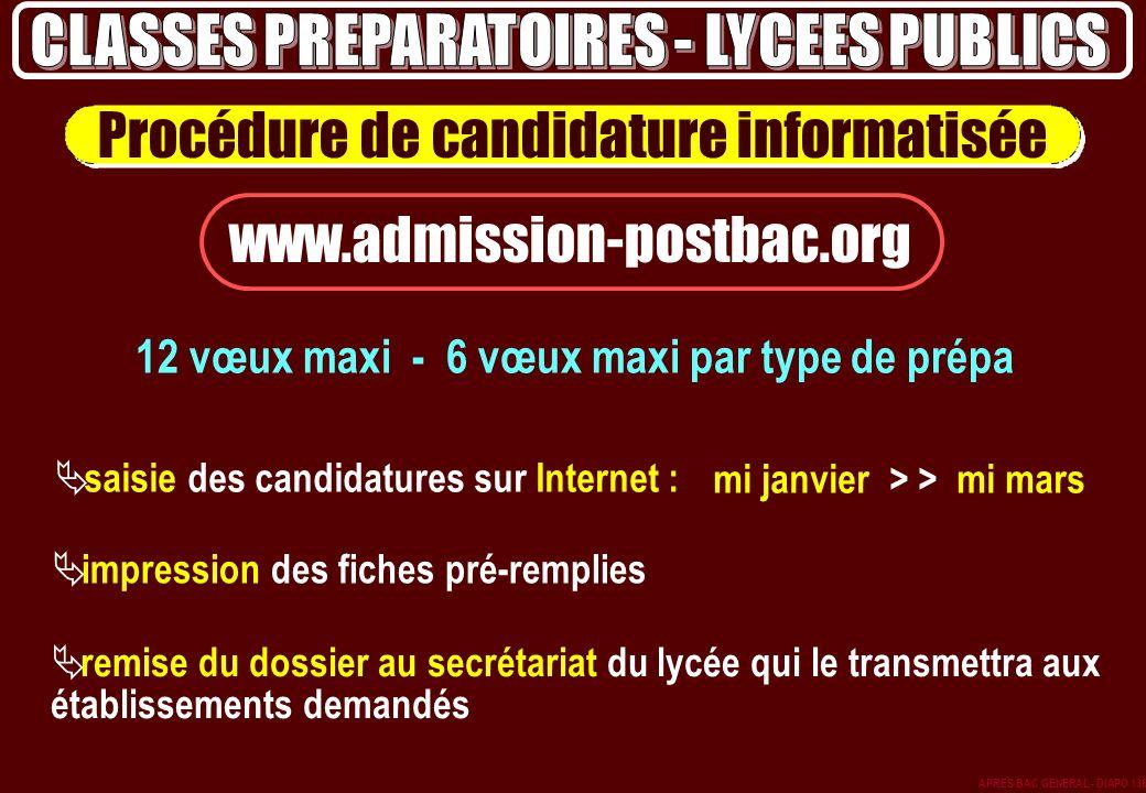 CLASSES PREPARATOIRES - LYCEES PUBLICS mi janvier > > mi mars