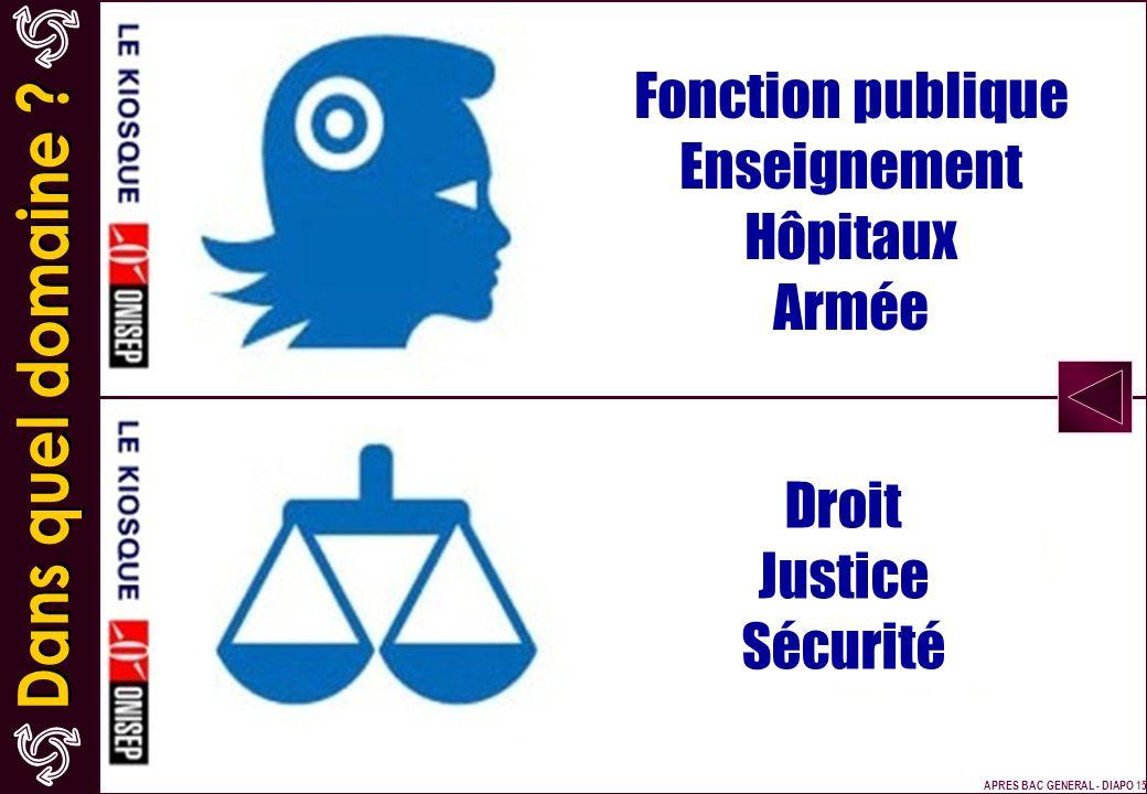 Fonction publique Enseignement Hôpitaux Armée Droit Justice Sécurité