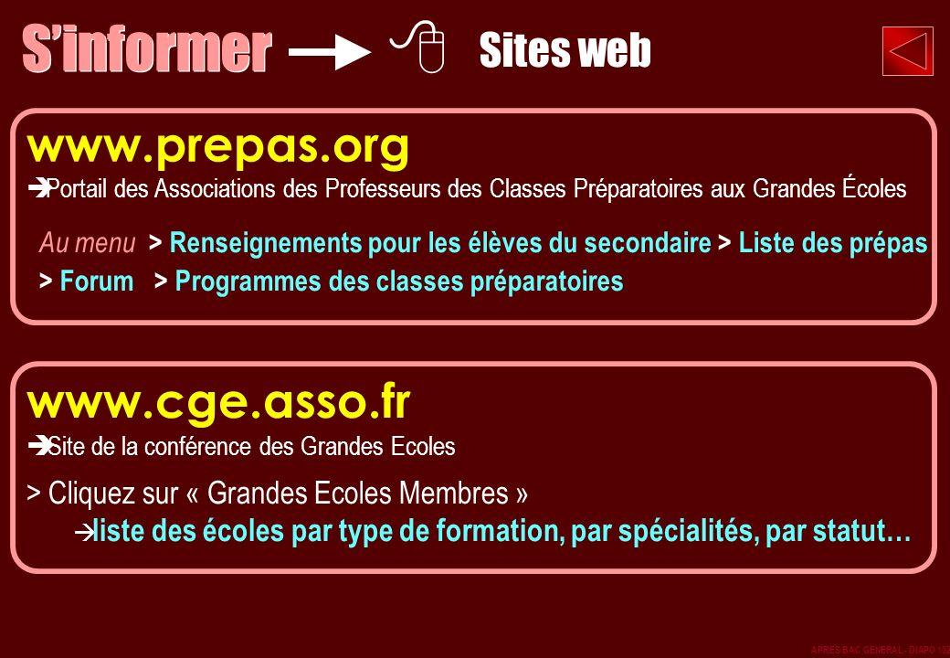 S'informer www.prepas.org www.cge.asso.fr Sites web
