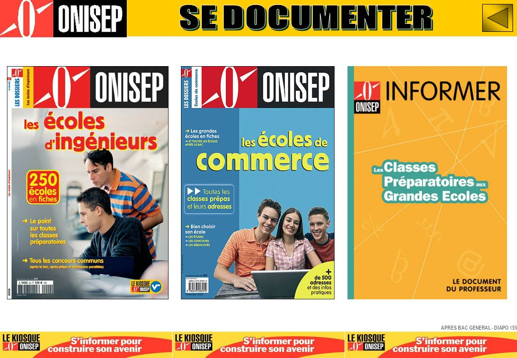 SE DOCUMENTER APRES BAC GENERAL - DIAPO 155