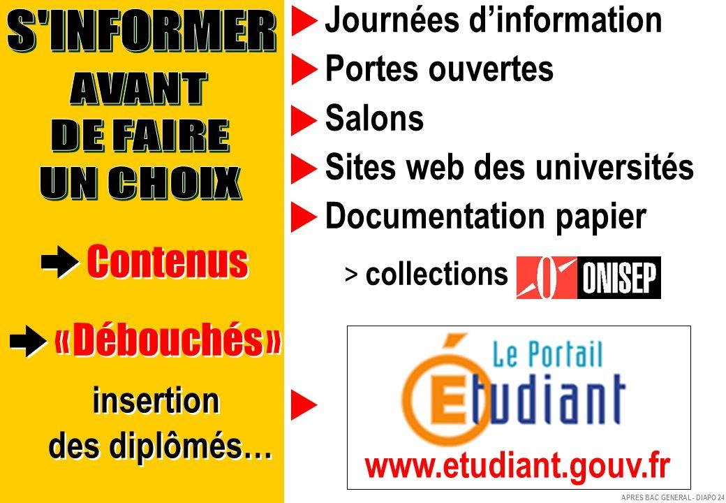 Contenus « Débouchés » Journées d'information Portes ouvertes Salons