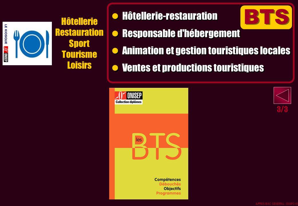 BTS Hôtellerie-restauration Responsable d hébergement