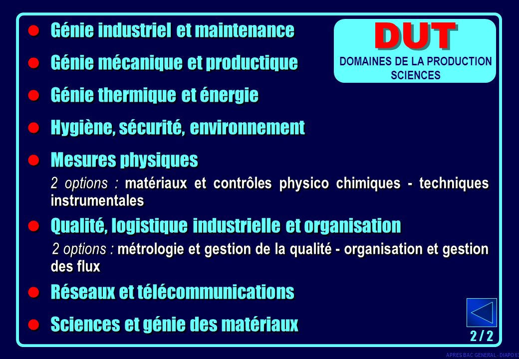 DOMAINES DE LA PRODUCTION