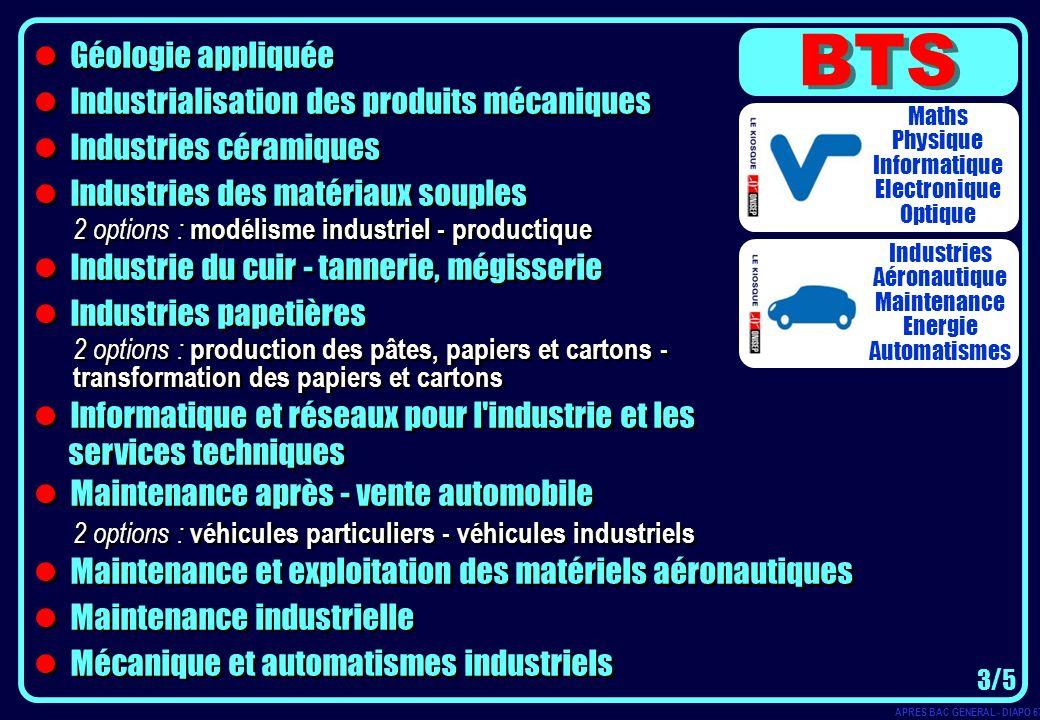 BTS Géologie appliquée Industrialisation des produits mécaniques