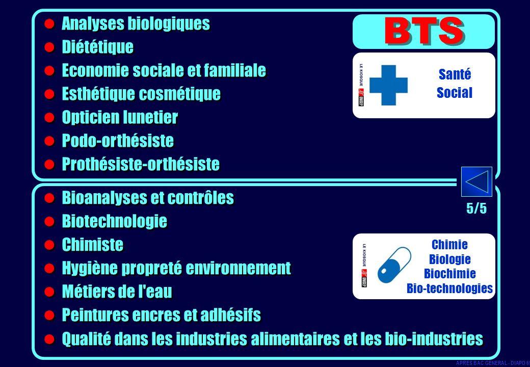 BTS Analyses biologiques Diététique Economie sociale et familiale