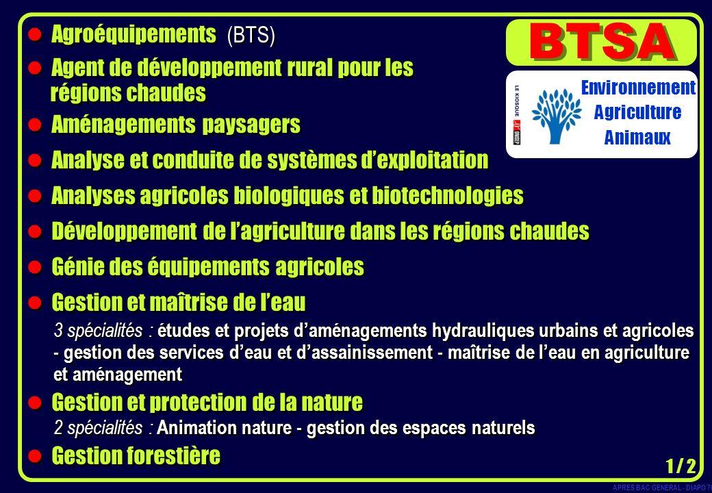 BTSA Agroéquipements (BTS) Agent de développement rural pour les