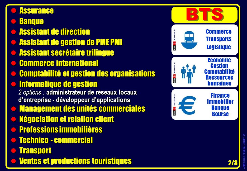 BTS Assurance Banque Assistant de direction