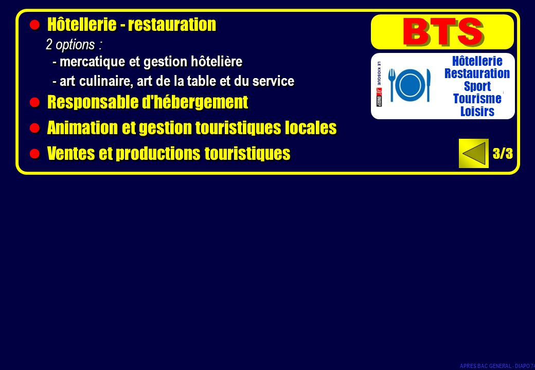 BTS Hôtellerie - restauration Responsable d hébergement