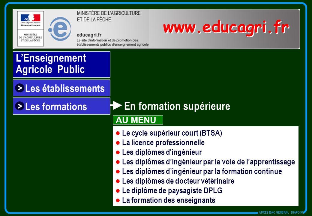 www.educagri.fr L'Enseignement Agricole Public En formation supérieure