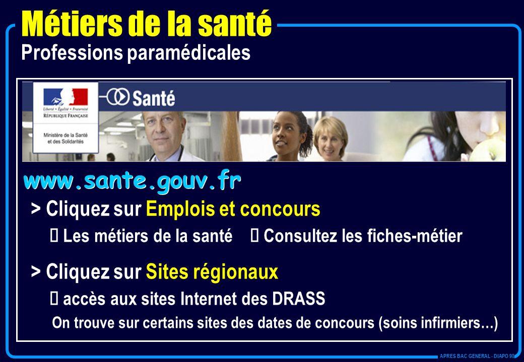 Métiers de la santé www.sante.gouv.fr Professions paramédicales