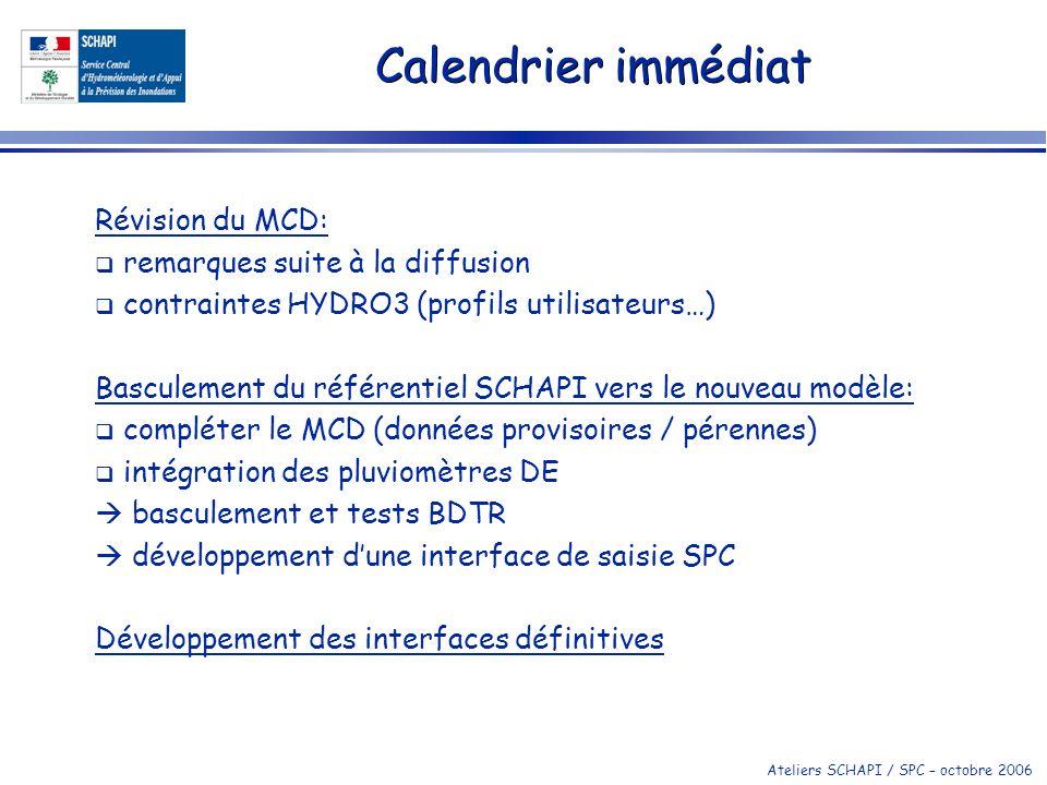 Calendrier immédiat Révision du MCD: remarques suite à la diffusion