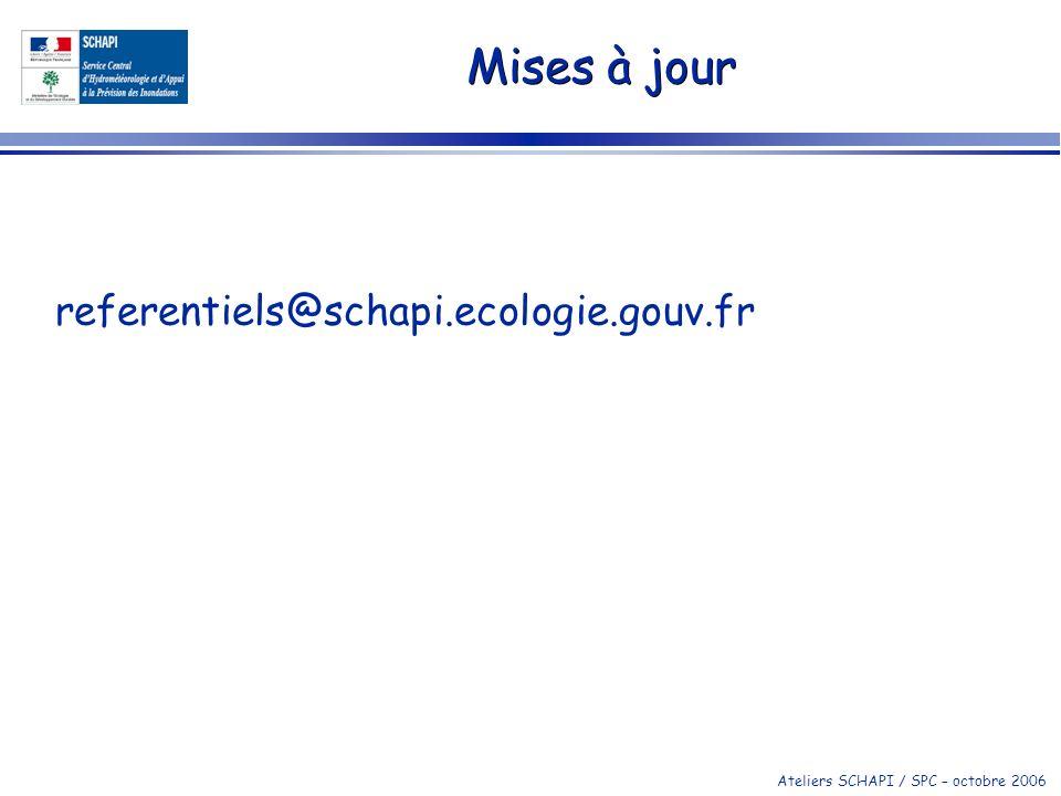 Mises à jour referentiels@schapi.ecologie.gouv.fr