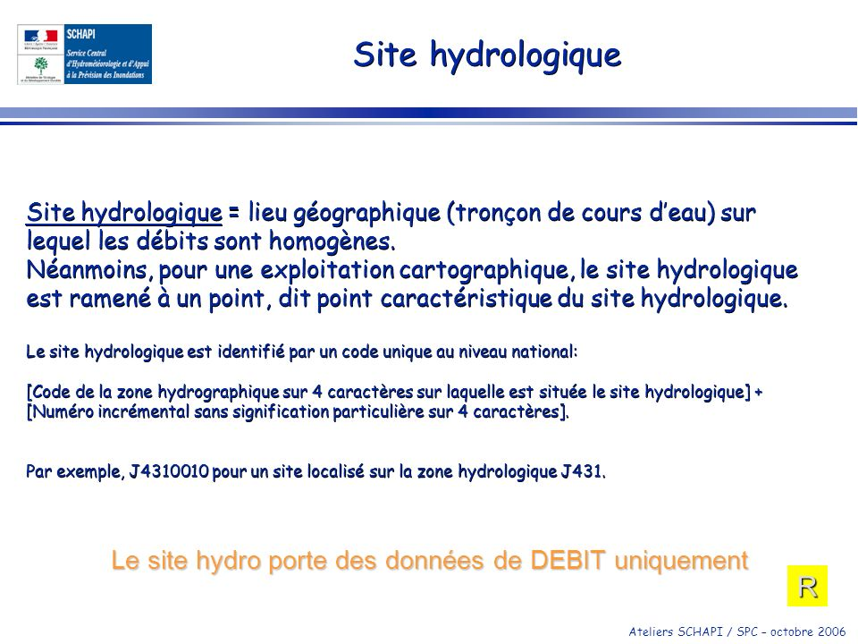 Le site hydro porte des données de DEBIT uniquement