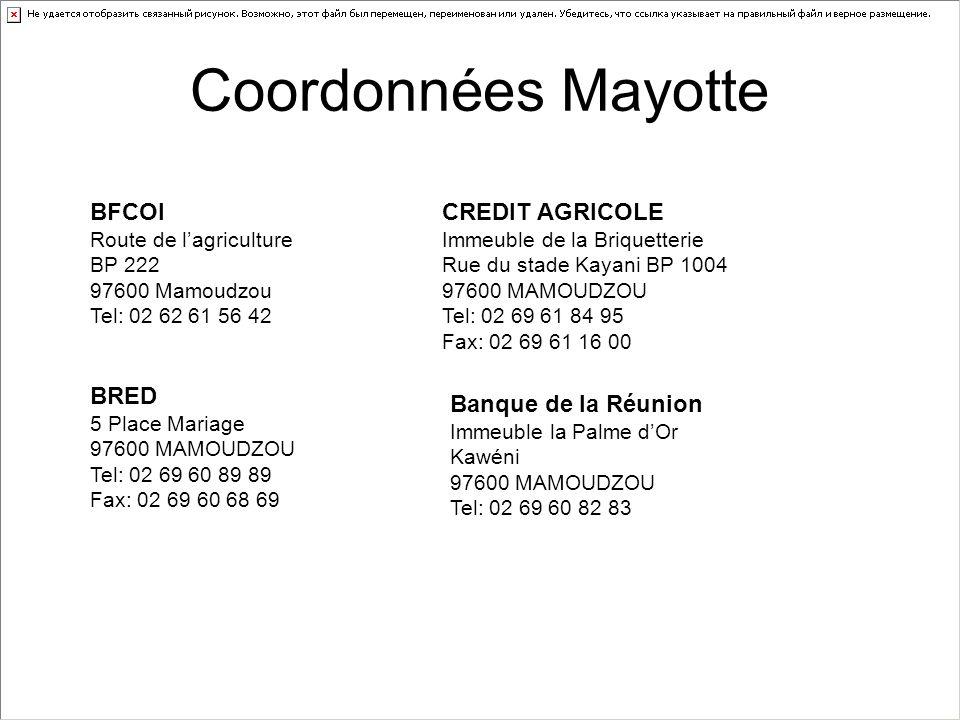 Coordonnées Mayotte BFCOI CREDIT AGRICOLE BRED Banque de la Réunion