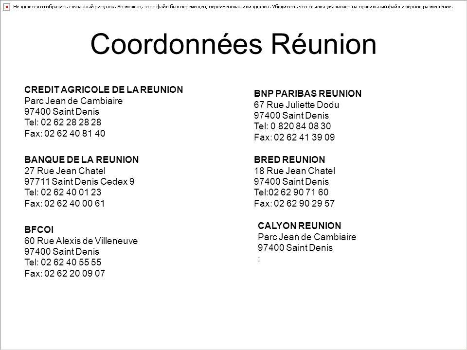 Coordonnées Réunion CREDIT AGRICOLE DE LA REUNION