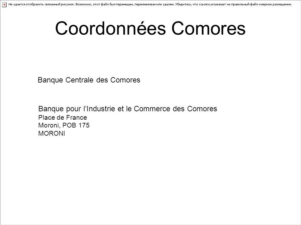 Coordonnées Comores Banque Centrale des Comores