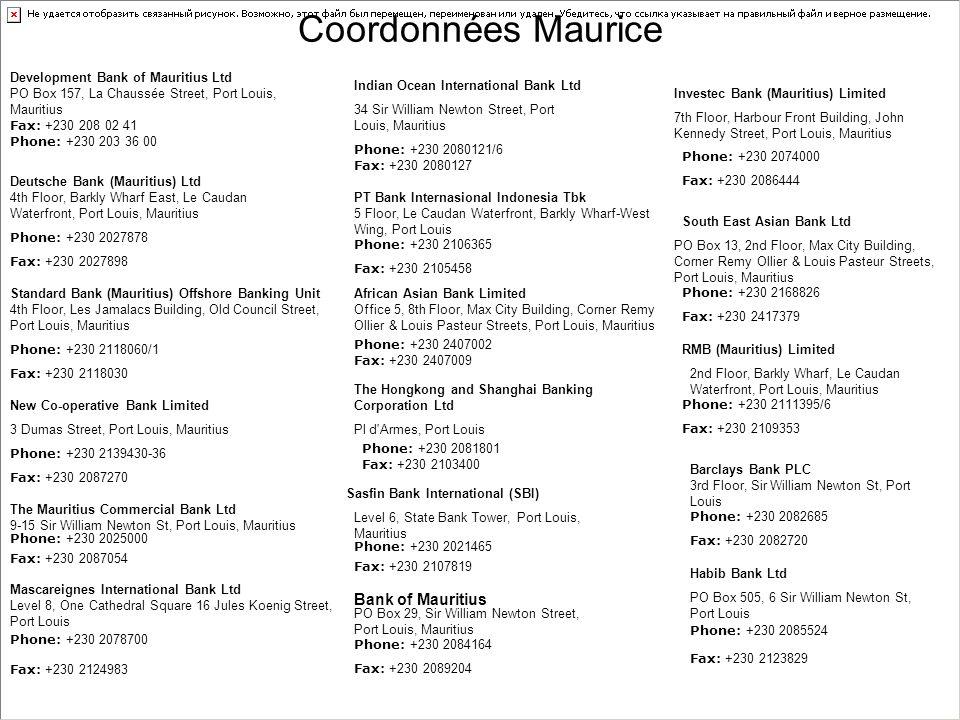 Coordonnées Maurice Bank of Mauritius