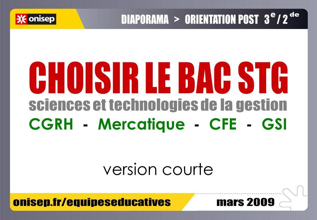 version courte CGRH - Mercatique - CFE - GSI e de