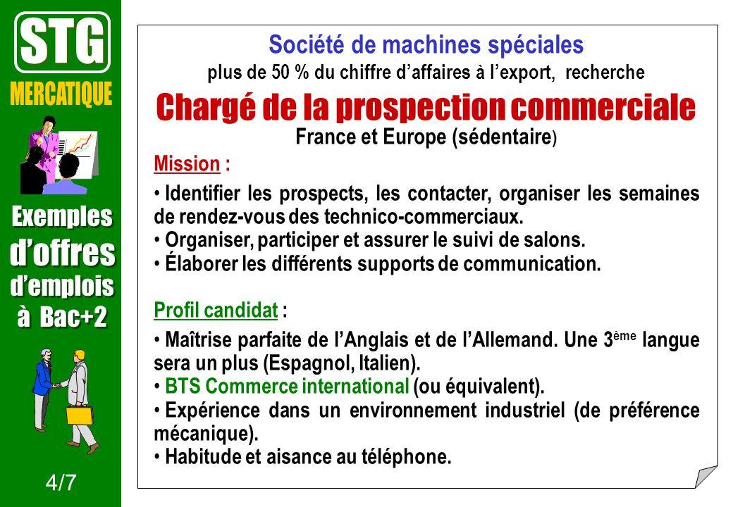 STG Chargé de la prospection commerciale MERCATIQUE d'offres