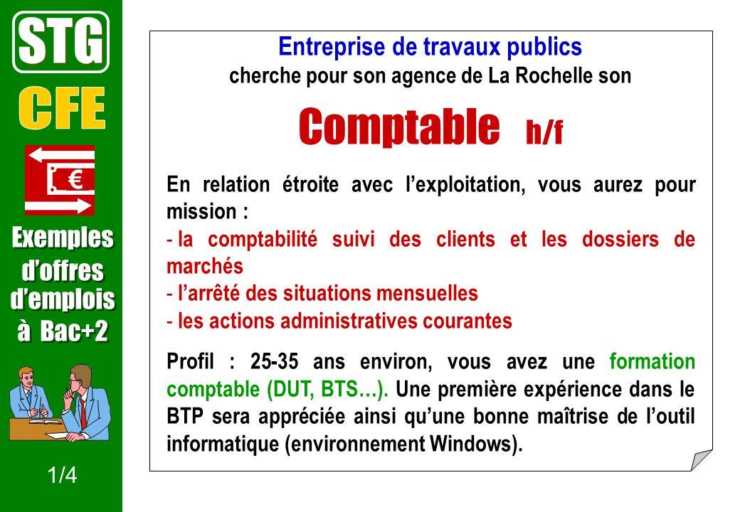 STG Comptable h/f CFE Entreprise de travaux publics € Exemples