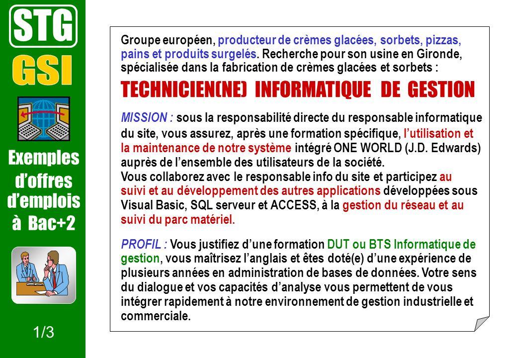 STG GSI TECHNICIEN(NE) INFORMATIQUE DE GESTION Exemples d'offres