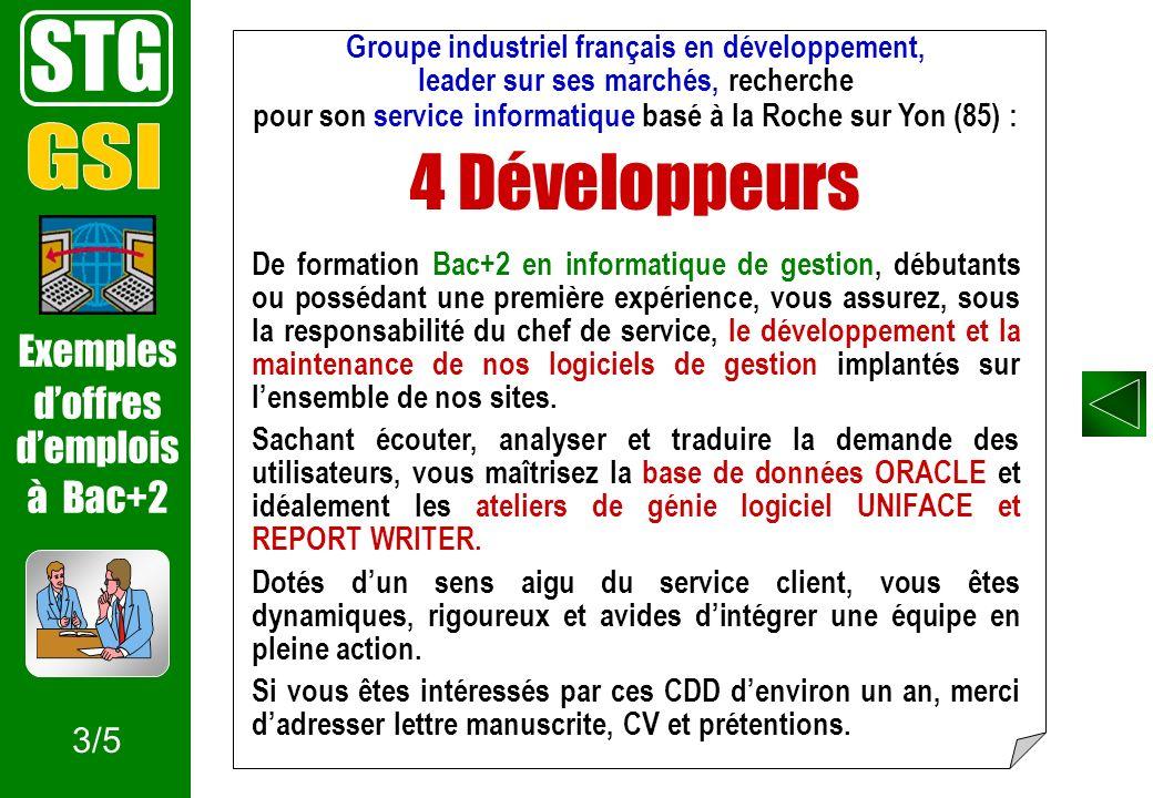 STG 4 Développeurs GSI Exemples d'offres d'emplois à Bac+2 3/5