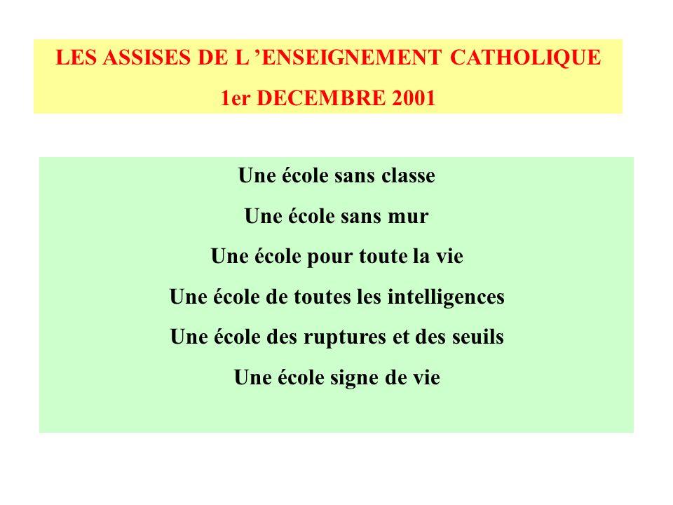 LES ASSISES DE L 'ENSEIGNEMENT CATHOLIQUE 1er DECEMBRE 2001