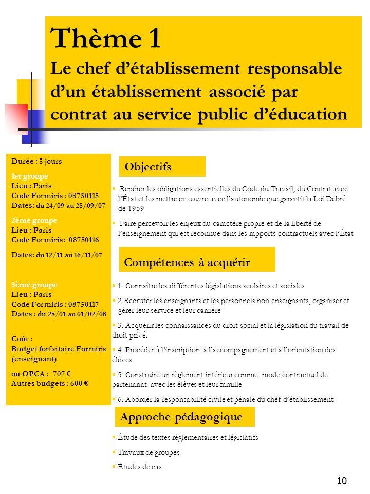 Thème 1 Le chef d'établissement responsable d'un établissement associé par contrat au service public d'éducation