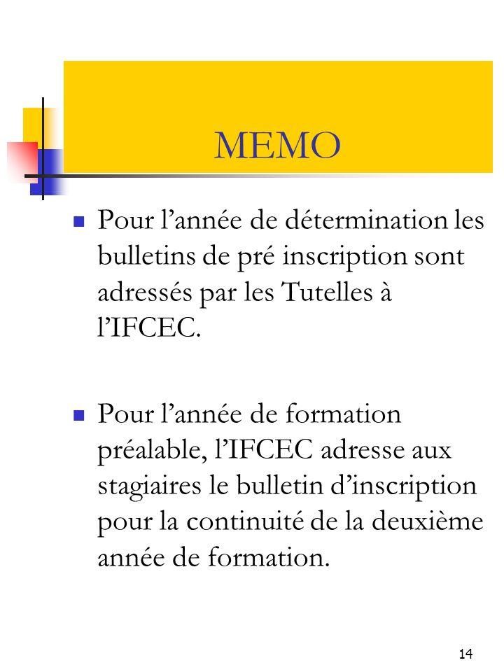 MEMO Pour l'année de détermination les bulletins de pré inscription sont adressés par les Tutelles à l'IFCEC.
