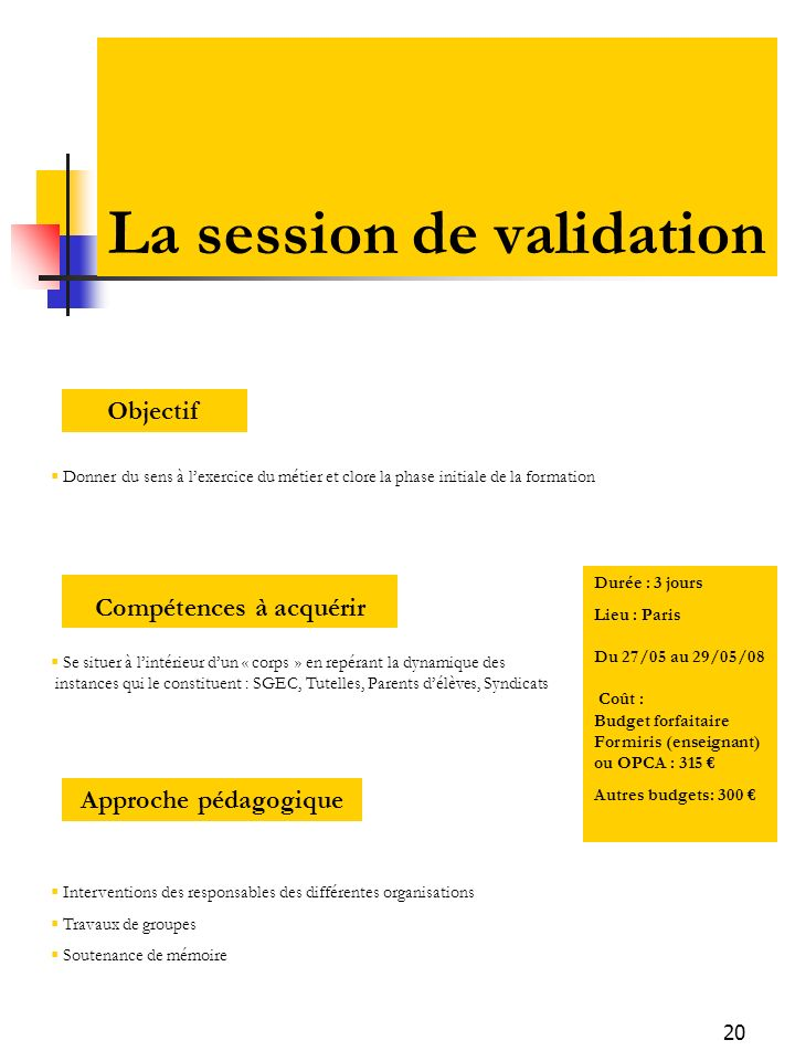 La session de validation
