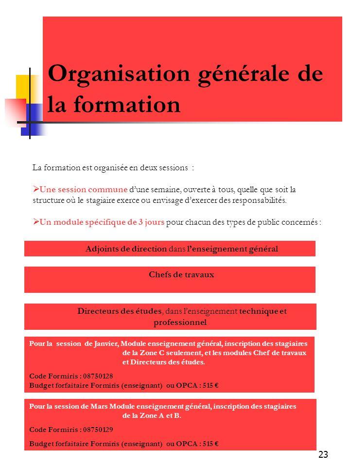 Organisation générale de la formation
