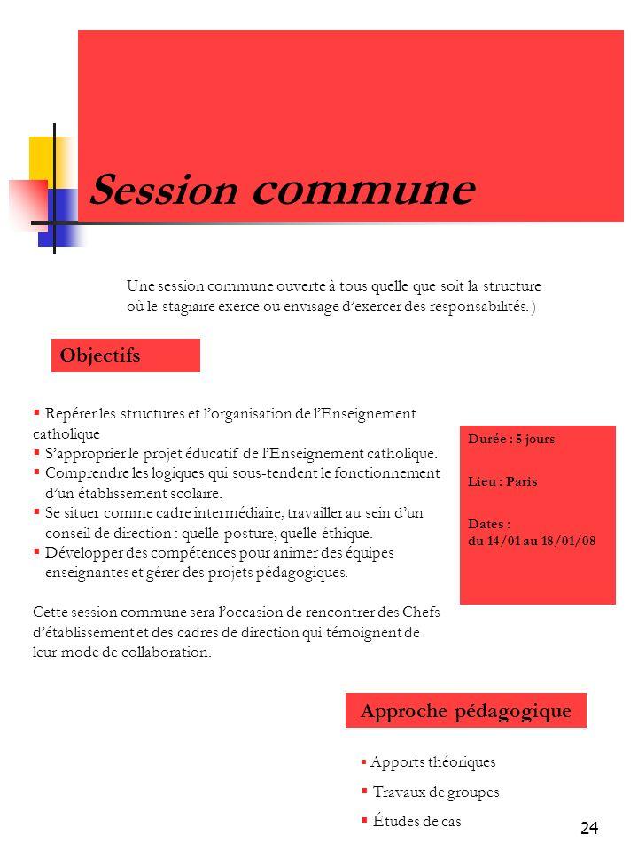 Session commune Objectifs Approche pédagogique