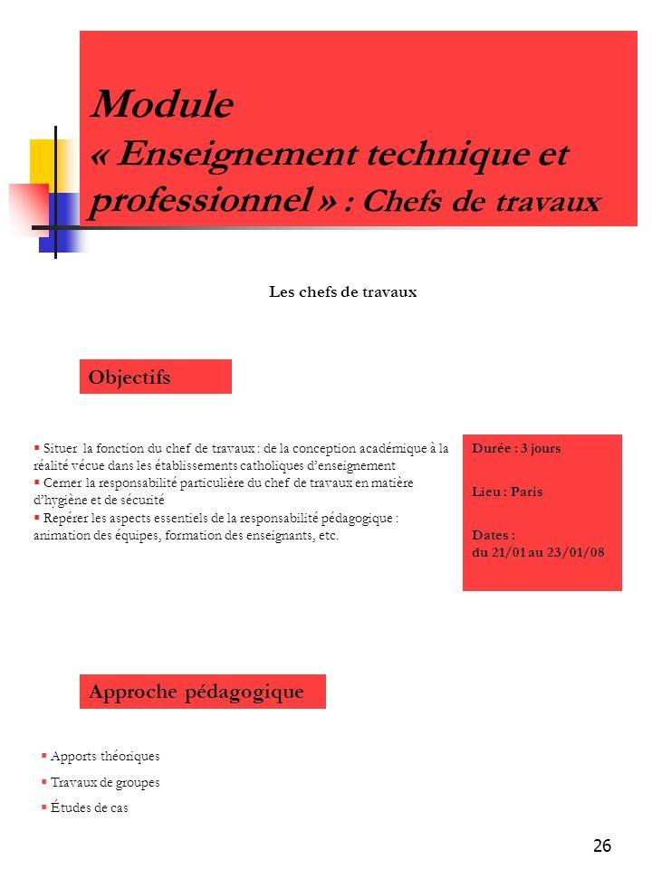 Module « Enseignement technique et professionnel » : Chefs de travaux
