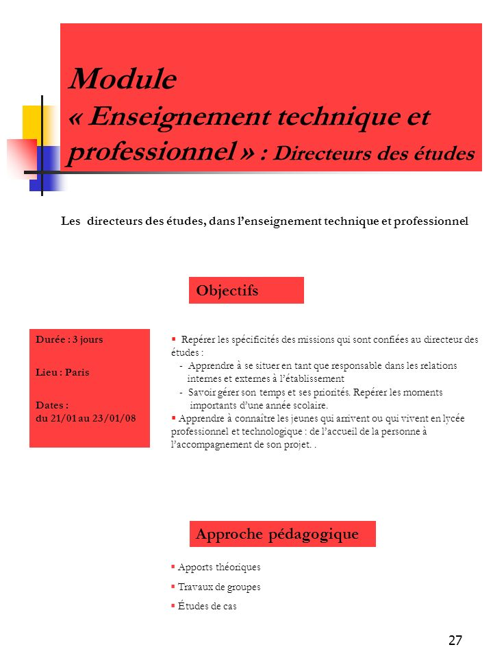 Module « Enseignement technique et professionnel » : Directeurs des études