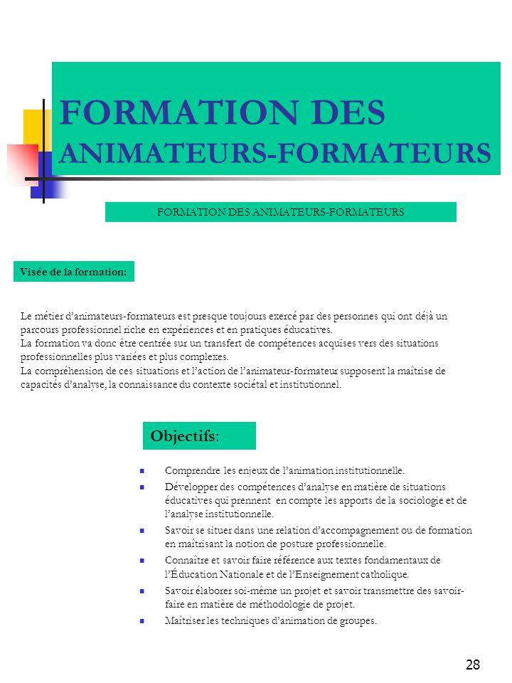 FORMATION DES ANIMATEURS-FORMATEURS
