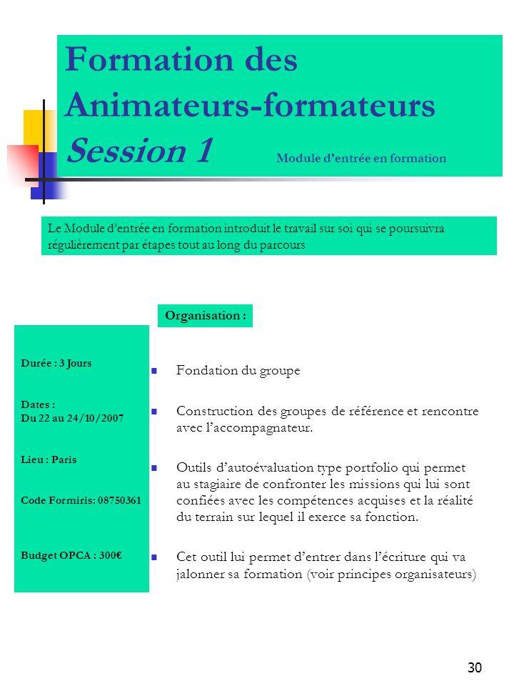 Formation des Animateurs-formateurs Session 1 Module d'entrée en formation