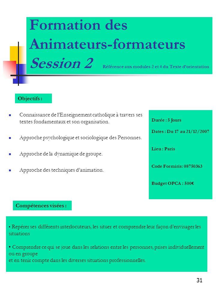 Formation des Animateurs-formateurs Session 2 Référence aux modules 2 et 4 du Texte d'orientation