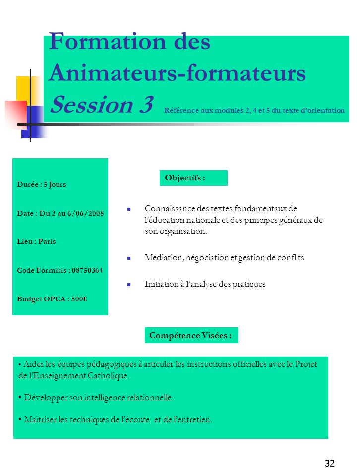 Formation des Animateurs-formateurs Session 3 Référence aux modules 2, 4 et 5 du texte d'orientation