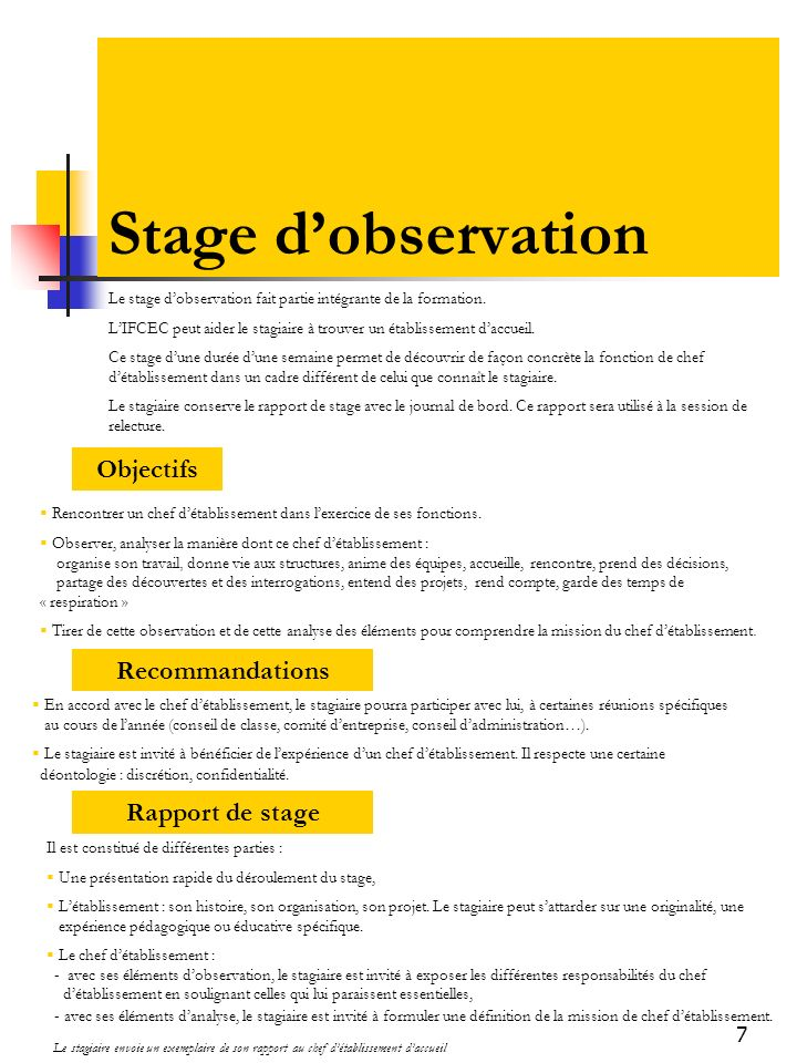 Stage d'observation Objectifs Recommandations Rapport de stage