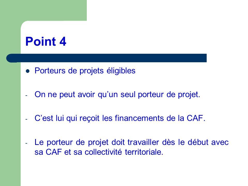 Point 4 Porteurs de projets éligibles