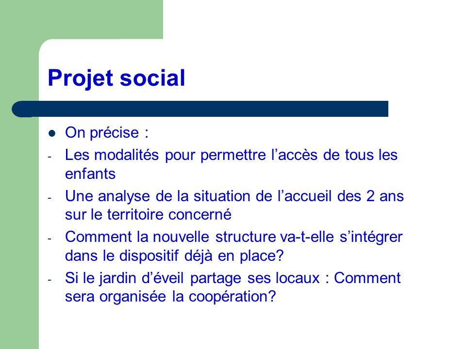 Projet social On précise :