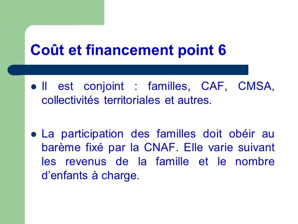 Coût et financement point 6