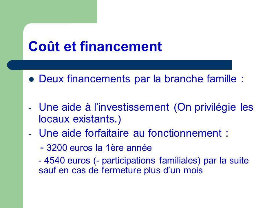 Coût et financement Deux financements par la branche famille :