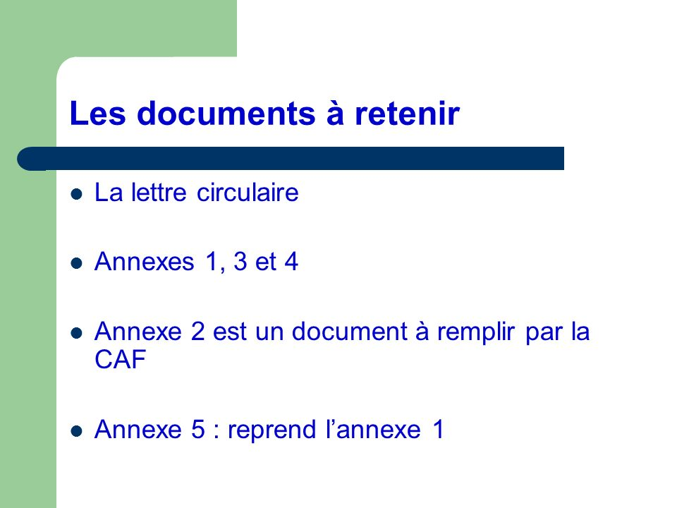Les documents à retenir
