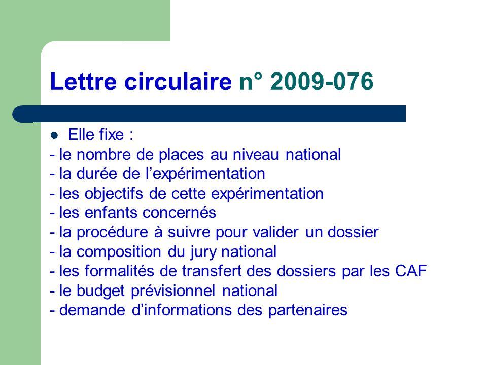 Lettre circulaire n° 2009-076 Elle fixe :
