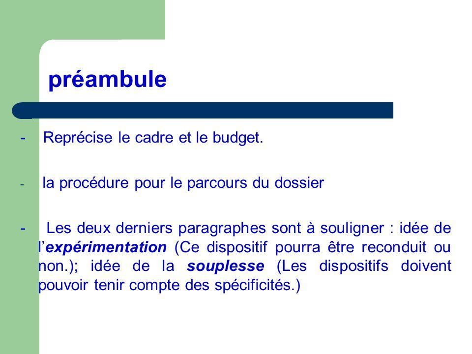 préambule - Reprécise le cadre et le budget.