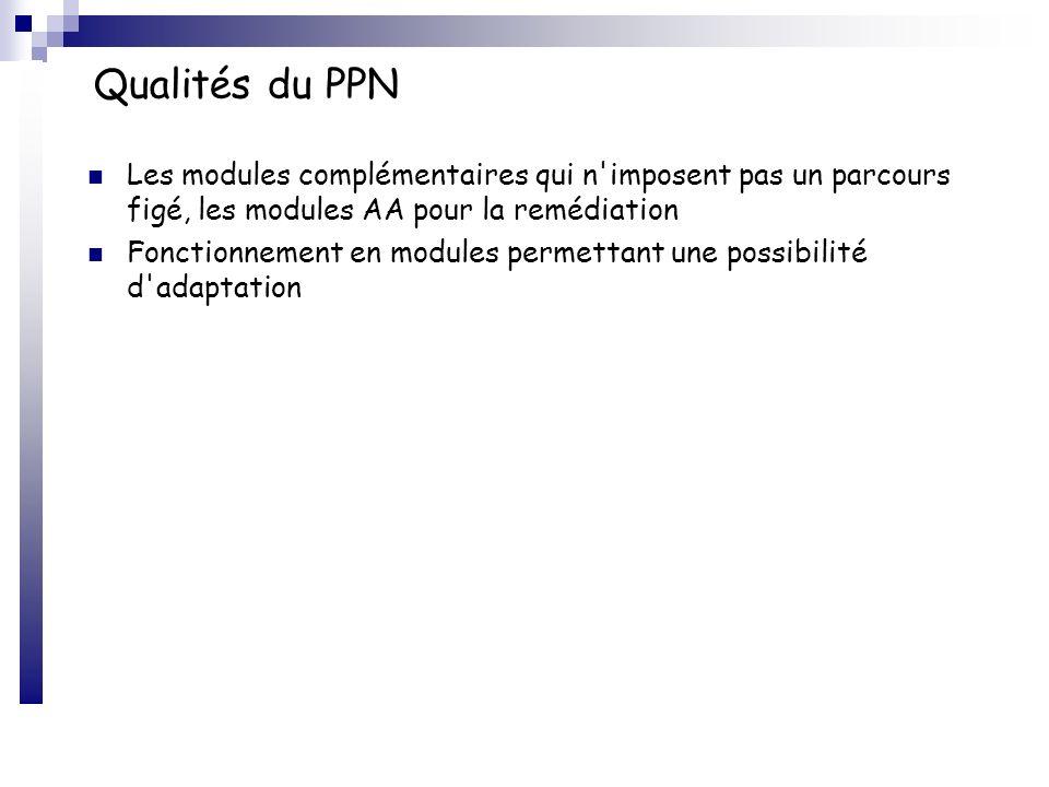 Qualités du PPN Les modules complémentaires qui n imposent pas un parcours figé, les modules AA pour la remédiation.