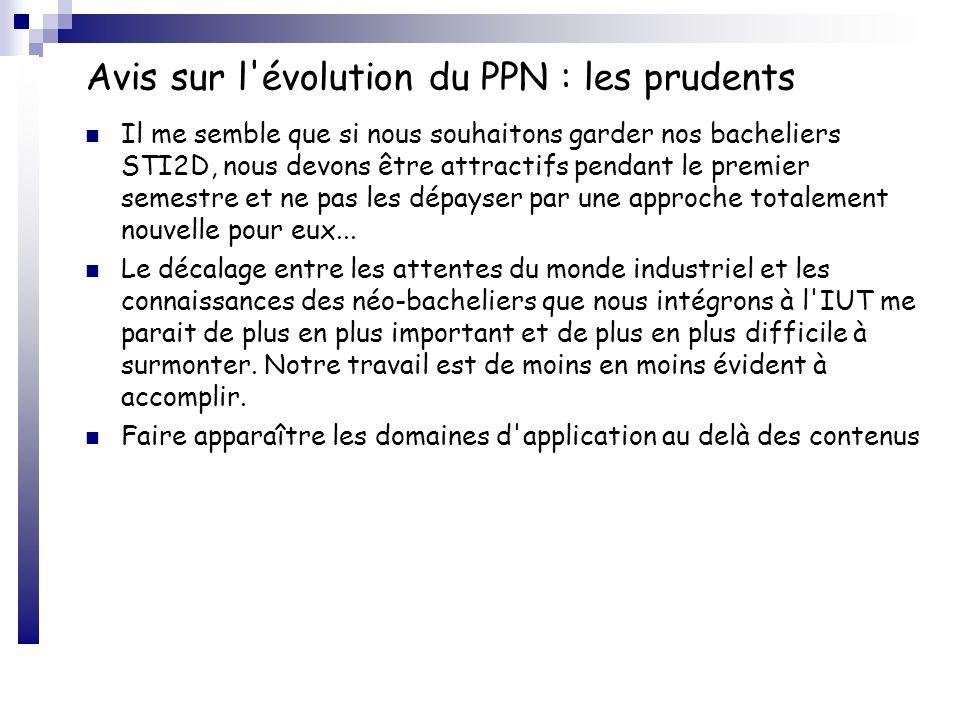 Avis sur l évolution du PPN : les prudents