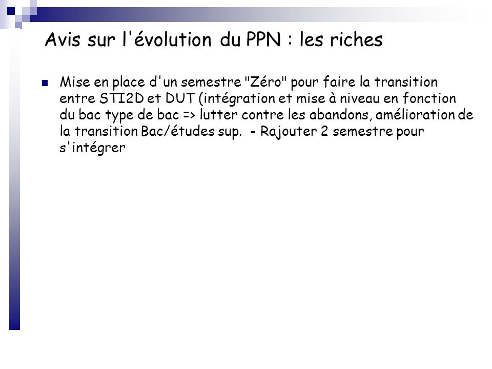Avis sur l évolution du PPN : les riches