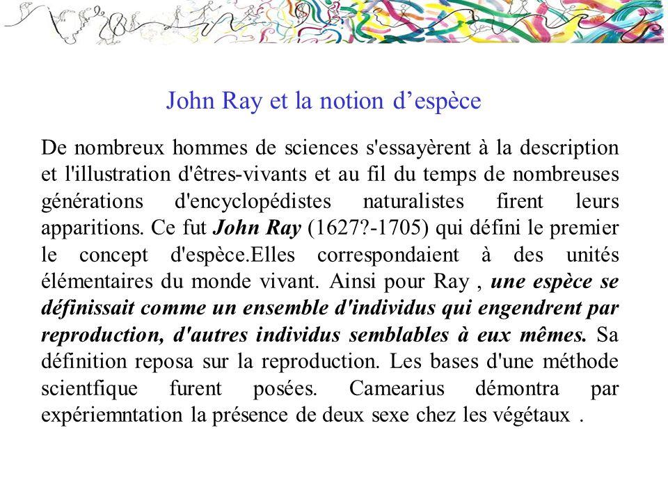 John Ray et la notion d'espèce